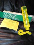 Nos Mib John Deere Outdoor W/ Mount Ins. And Advertising Thermometer Yellow Boxed