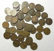 Solid Date Wheat Roll Of 50 1909 P Circulated Lincoln Cents Pennies 50 Coins