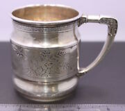 Antique Whiting Mfg. Co. Sterling Silver Figural Floral Art Nouveau Baby Cup Mug