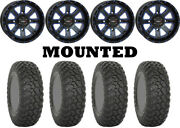 Kit 4 System 3 Rt320 Tires 30x10-14 On System 3 St-4 Blue Wheels Can