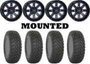 Kit 4 System 3 Rt320 Tires 30x10-14 On System 3 St-4 Blue Wheels 550