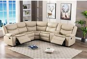 L-shaped Breathable Leather Manual Reclining Sectional Sofa Sets For Living Room