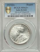 India British George V 1919-b 1 Rupee Silver Coin, Certified Pcgs Choice Ms63+