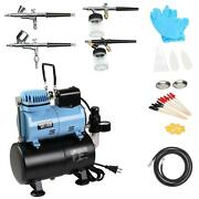 New Master Airbrush Air Compressor System Kit With 0.2/0.3/0.35/0.8mm Airbrushes
