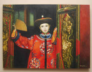 Large Oil On Canvas Painting Chinese Woman With Fan Mantel Size 40 X 30 Signed