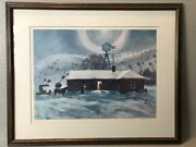 Peter Hurd The Late Call Pencil Signed Print - Framed With Matte And Glass