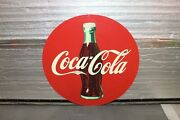 1950s Coca-cola Advertisement Round Tin Single Sided Sign