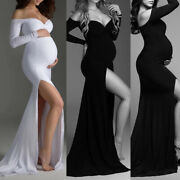 Pregnant Women Off Shoulder Maternity Dress Photography Prop Photo Long Gown Us