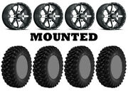 Kit 4 Superatv Xt Warrior Sticky Tires 30x10-14 On Itp Cyclone Matte Black Can