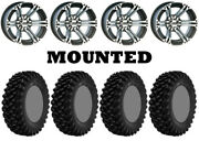 Kit 4 Superatv Xt Warrior Sticky Tires 35x10-15 On Itp Ss212 Machined Wheels Vik
