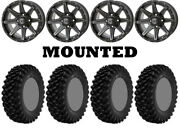 Kit 4 Superatv Xt Warrior Std Tires 30x10-14 On Frontline 308 Matte Gray Can