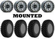 Kit 4 Superatv Xt Warrior Sticky 30x10-14 On Raceline Podium Beadlock Gray 1kxp