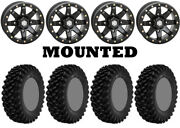 Kit 4 Superatv Xt Warrior Sticky 34x10-14 On Hd9 Beadlock Matte Black Nar 1kxp