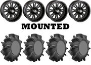 Kit 4 Superatv Assassinator Tires 34x8-14 On Moose 399x Matte Black Wheels Fxt