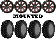 Kit 4 Superatv Xt Warrior Sticky Tires 34x10-14 On System 3 St-4 Red Wheels Can
