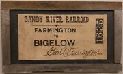 Large Handpainted Antique Fiber Board Sign For The Sandy River Railroad, Farming