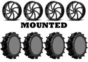 Kit 4 Superatv Terminator Max Tires 42x10-22 On Msa M36 Switch Black Wheels Fxt