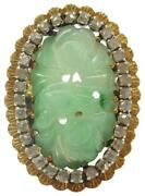 18kt Vintage Unheated Natural Jade And Diamond Solid Yellow Gold Ring .25ct