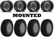 Kit 4 Superatv Xt Warrior Sticky 34x10-14 On 406 Beadlock Matte Black Hp1k
