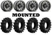Kit 4 Superatv Intimidator Tires 34x10.5-15 On Method 401 Beadlock Titanium Ter