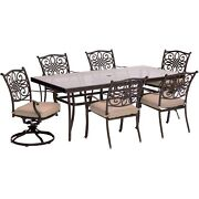 Traditions7pc 4 Dining Chairs 2 Swivel Rockers 42x84 Glass Top Table - Ta...