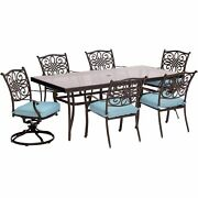 Traditions7pc 4 Dining Chairs 2 Swivel Rockers 42x84 Glass Top Table - Bl...