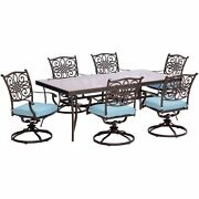 Traditions7pc 6 Swivel Rockers 42x84 Glass Top Table - Blue/glass