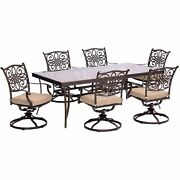 Traditions7pc 6 Swivel Rockers 42x84 Glass Top Table - Tan/glass