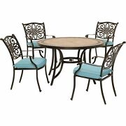 Monaco5pc 4 Cush Dining Chairs 51 Round Tile Top Table - Blue/tile