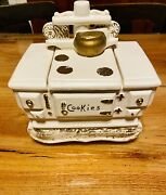 Vintage 1960 Ceramic Mccoy Cast-iron Wooden Stove Cookie Jar In White