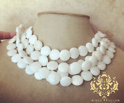 Snow White Agate Chunky Statement Necklace Stones Multi-strand Coin Bead Jewelry