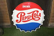 1950-60s Pepsi-cola Bottle Cap Tin Metal Sign By Stout Sign Co. Single Sided 30