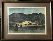 Peter Hurd The Little Circus Pencil Signed Print - Framed With Matte And Glass