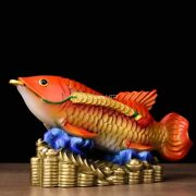 9'' Copper Casting Colored Drawing China Feng Shui Coin Money Treasure Fish
