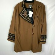 Bob Mackie Wearable Art Embroidered Jacket Coat Size Xl Brown Button Front New