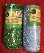 Lot Of 2 Deco Mesh Green And Blue Snowball Christmas Holiday Wreath Rolls