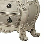 Three Drawer Wooden Nightstand With Scrolled Feet Antique White