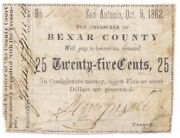 Texas C.s.a. State Bexar County, San Antonio M-05, 25 Cents Oct 9, 1862 Vg+ Z