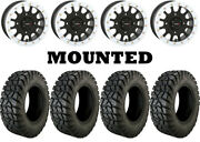 Kit 4 Moose Rigid Tires 30x10-14 On System 3 Sb-5 Beadlock Matte Black White Can