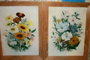 Vintage Floral Oil Paintings Pair Limed Oak Frames Mid Century French Farmhouse