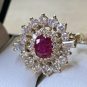 Vintage 14carat Yellow Gold Ruby And Diamond Cluster Ring Not Scrap 585 Not 18ct