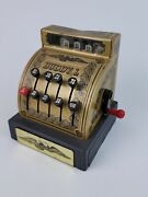 Vintage Buddy L Toy Cash Register Tin Litho Gold Tested And Working -dent On Top