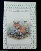 Vintage Unused Birthday Greeting Card Adorable Red Fox And Woodland Birds Resting