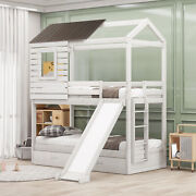 Twin Over Twin Bunk Bed With Drawers And Slide,wood Bunk Bed For Kids And Teens