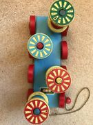 Brio Vintage 1960and039s Wooden Pull Along Toy With Cotton Reels That Spin Used