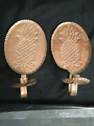 Vintage Copper Candlestick Holder Wall Sconce Hand Hammered Pineapples Preowned