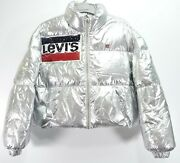 New Womens Silver Metallic Down Filled Crop Puffer Parka Coat Jacket L
