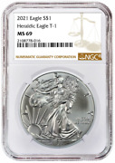 2021 1oz Silver Eagle Ngc Ms69 - Brown Label - In Stock