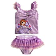 Disney Store Princess Sofia The First 2 Pc Deluxe Swimsuit Girl Size 3 4 7/8