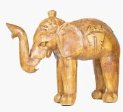 Clearance Sale Hand Carved Wooden Elephant African Jungle Sculpture Style Safari